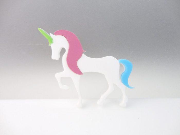 white unicorn brooch