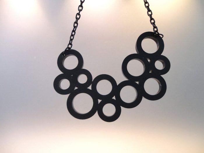 black laser cut necklace mercato monti plexi shock