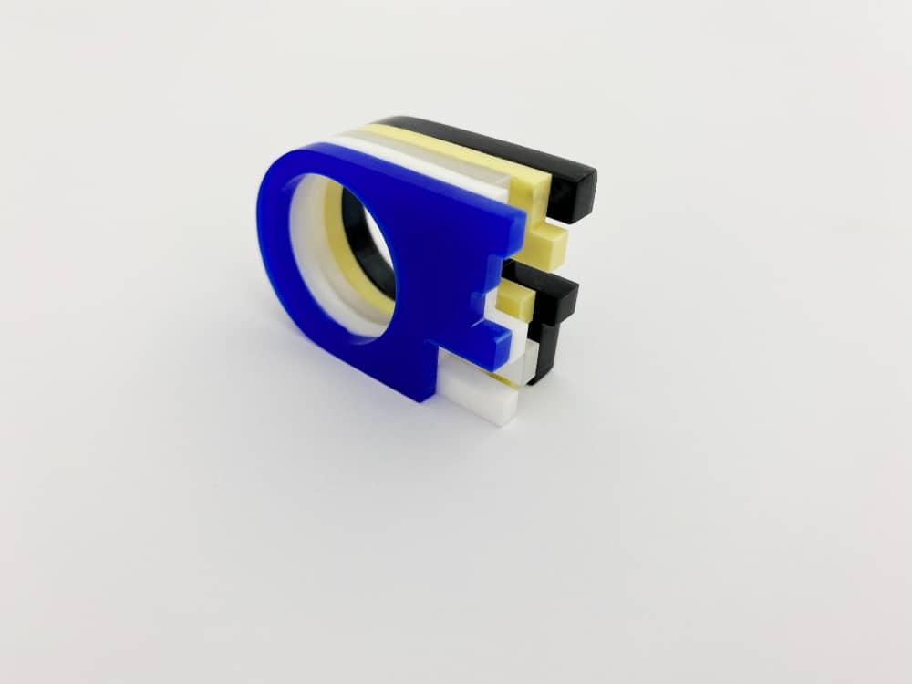 art deco postmodern rings