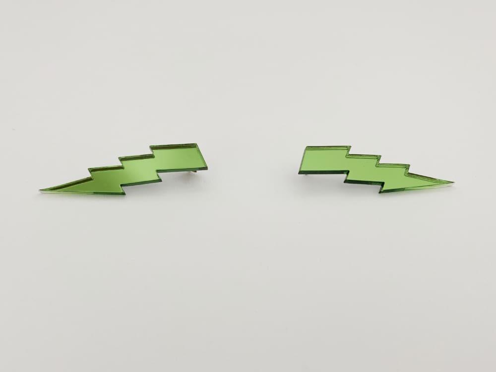 avocado green lightning bolt earrings