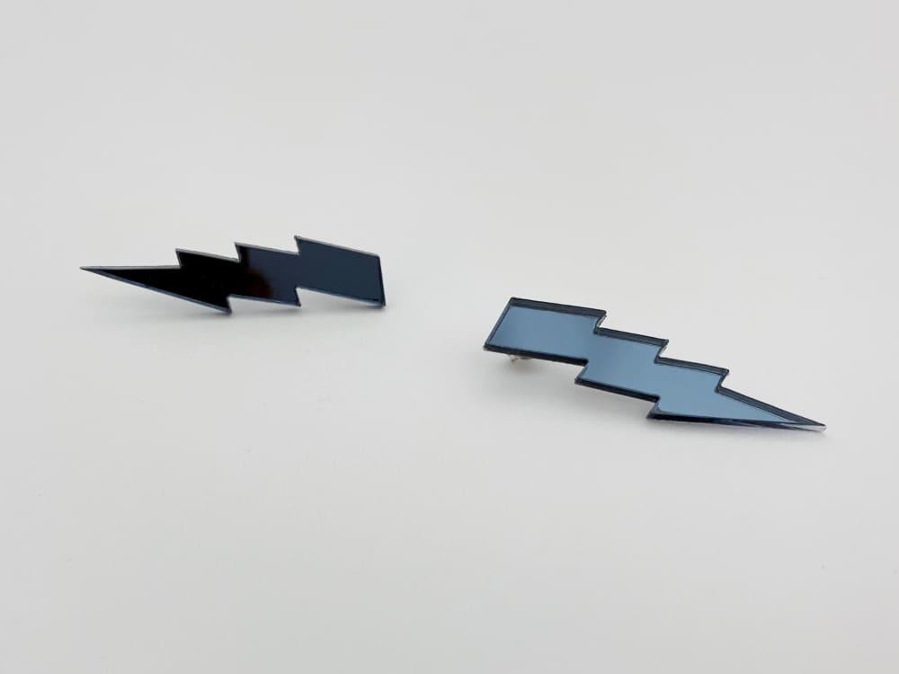 black mirror lightning bolt earrings