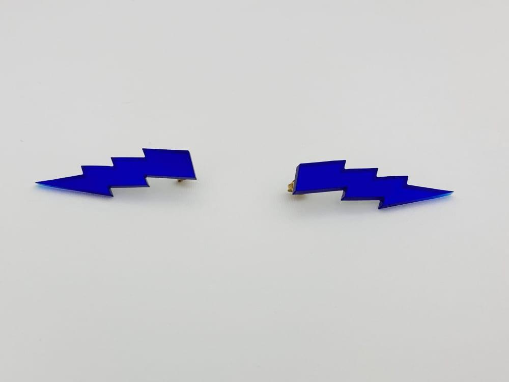 blue lightning bolt earrings