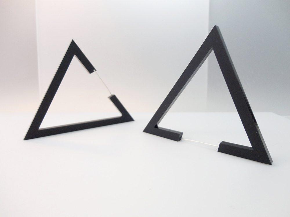 Hecker | Big Black Triangle Earrings 1