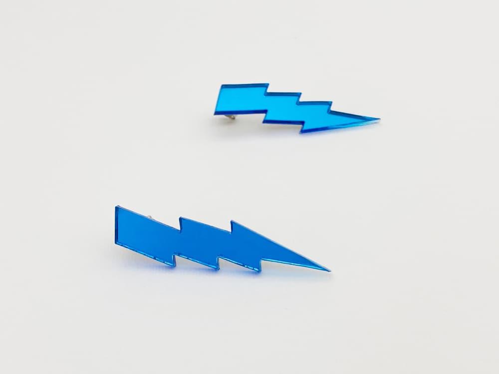 light blue lightning bolt earrings