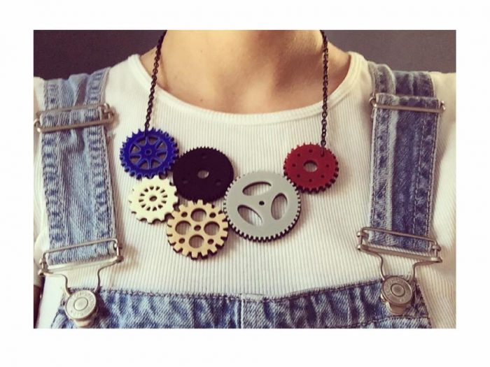plexiglass clockwork necklace jewelry