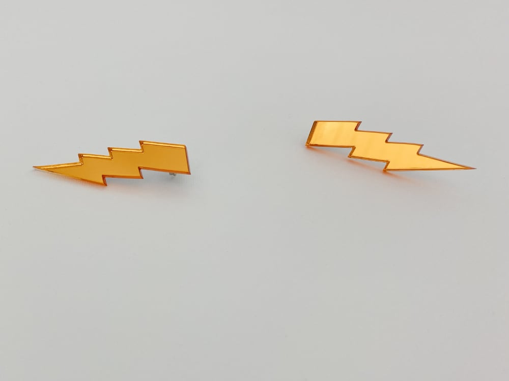 orange lightning bolt earrings