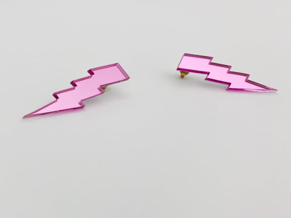 pink lightning bolt earrings