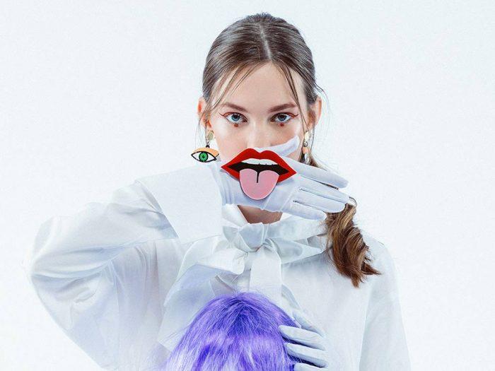 acrylic mouth tongue brooch