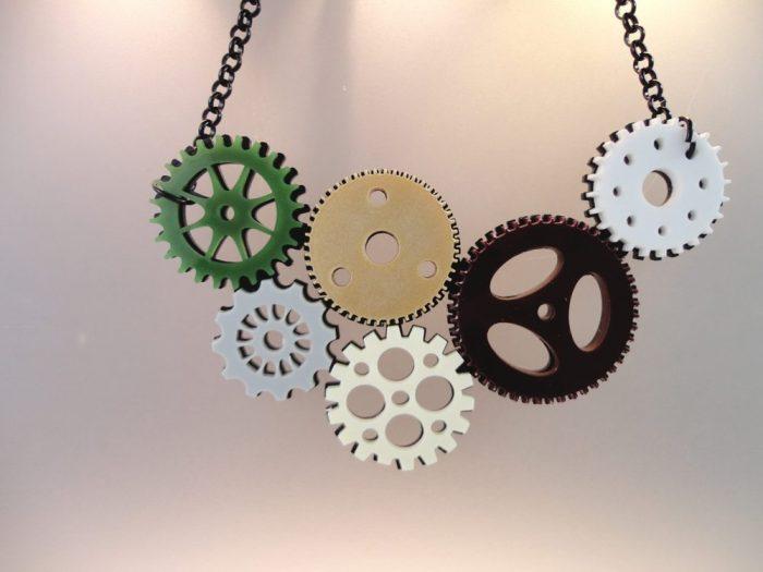 plexiglass clockwork necklace by plexi shock