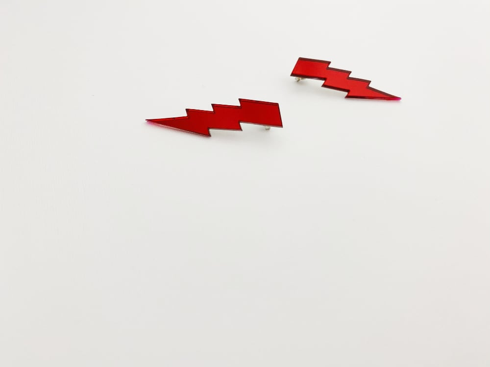 red lightning bolt earrings