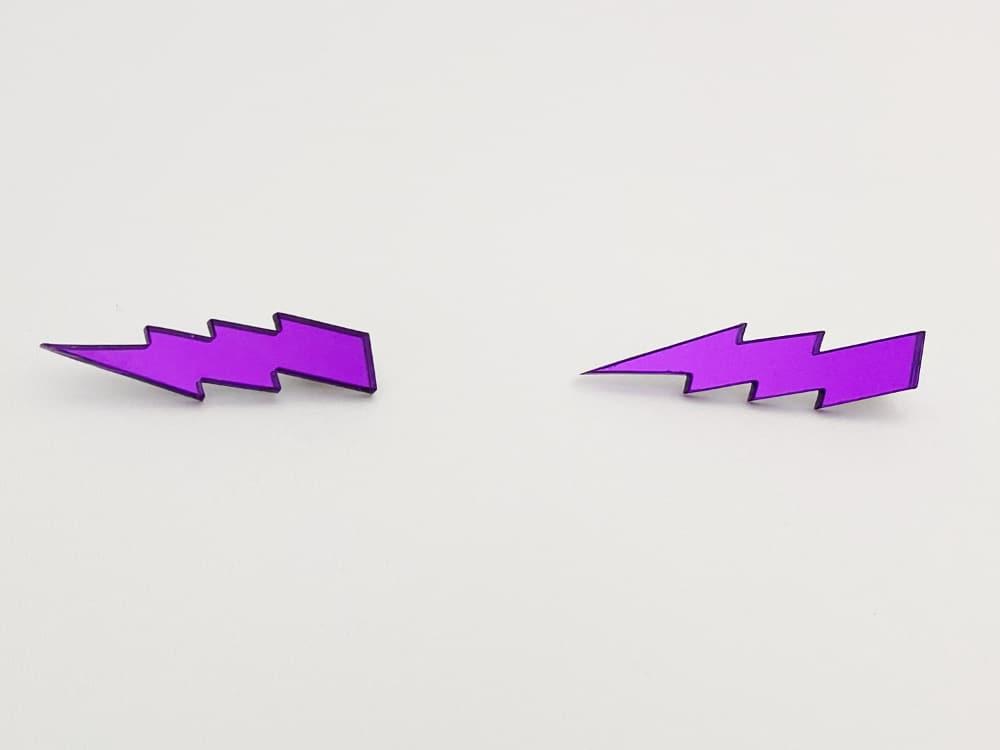 violet lightning bolt earrings