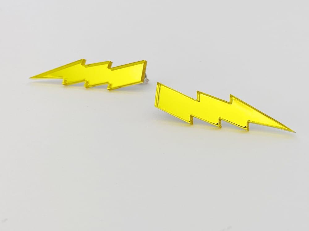 yellow lightning bolt earrings