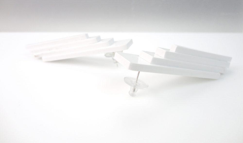 Maderna | Immaculate White Experimental Loop Earrings 2