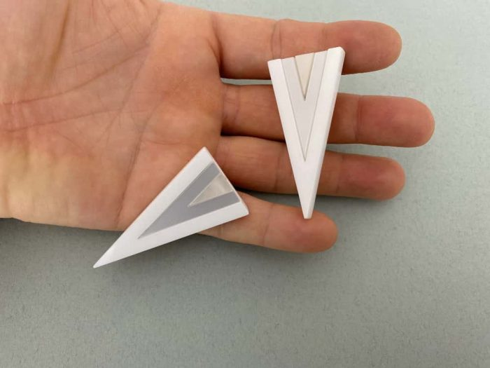 white triangle earrings
