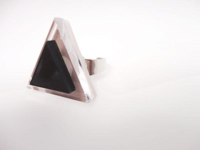 handmade triangle plexiglass ring