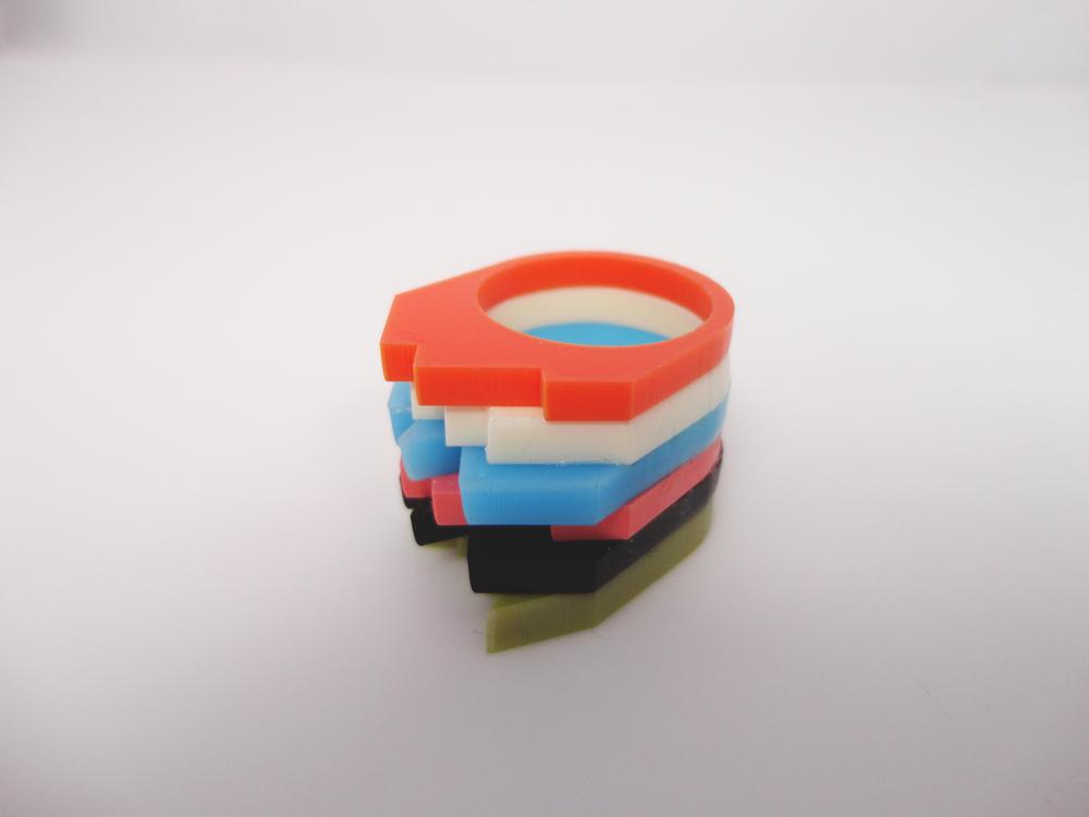 Multilayer Multicolor Plexiglass Ring 3