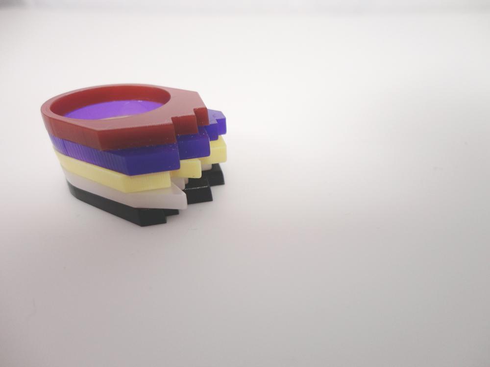 Multilayer Multicolor Plexiglass Ring 6