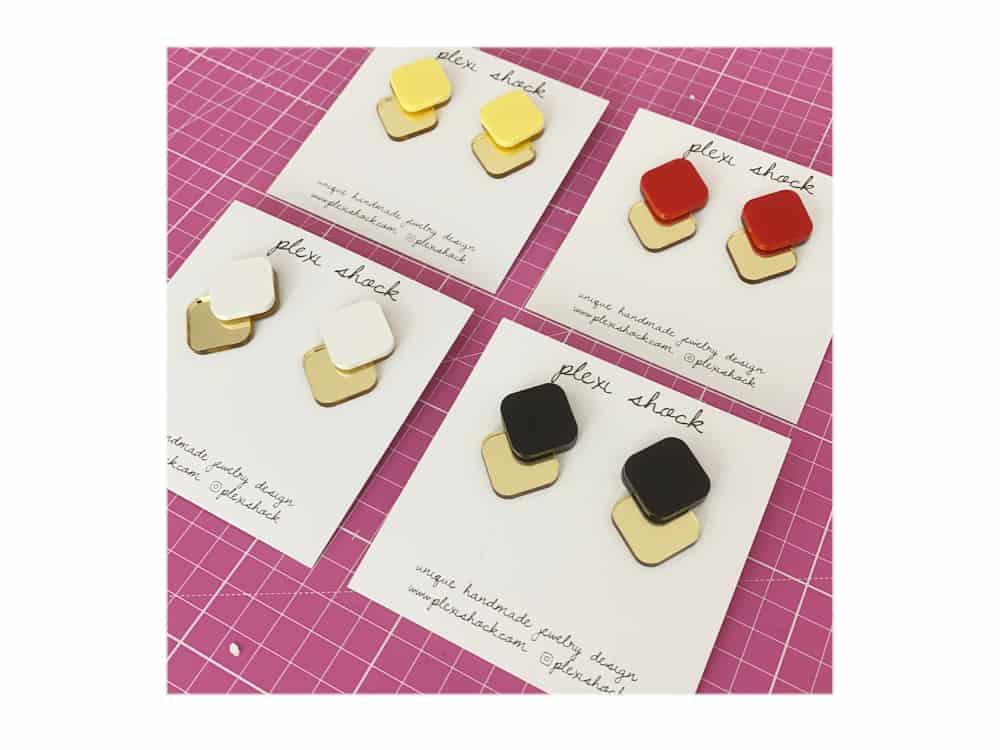 plexiglass stud earrings