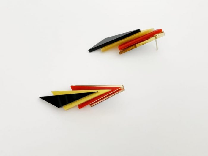 red gold black triangle earrings by plexi shock