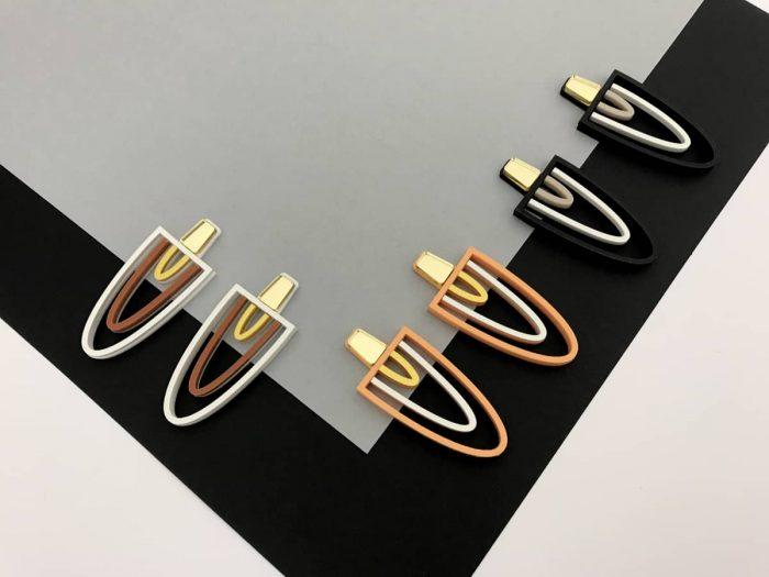 big art deco acrylic earrings