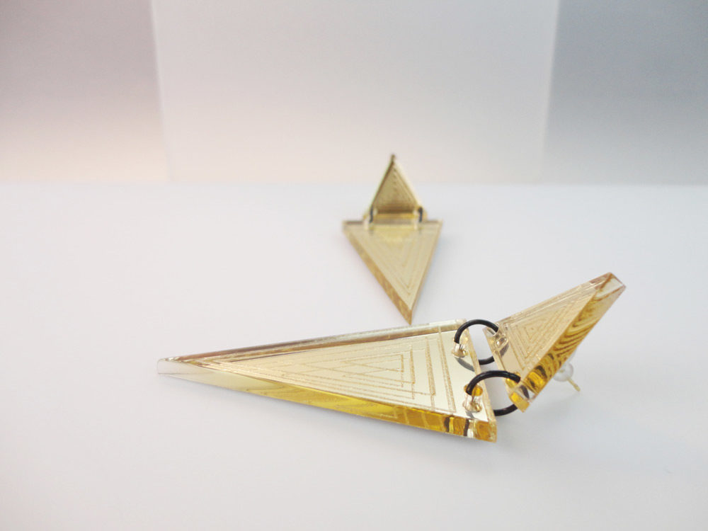 Micol   Two Essential Triangles on Gold Mirror Earrings 7
