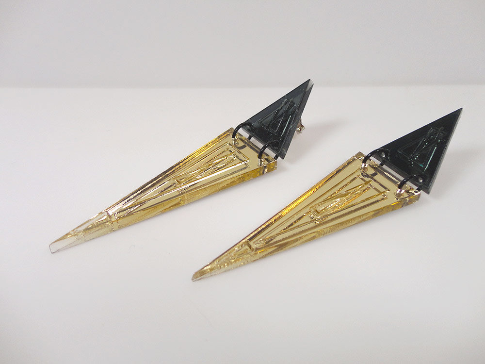 Micol   Two Essential Triangles on Gold Mirror Earrings 5