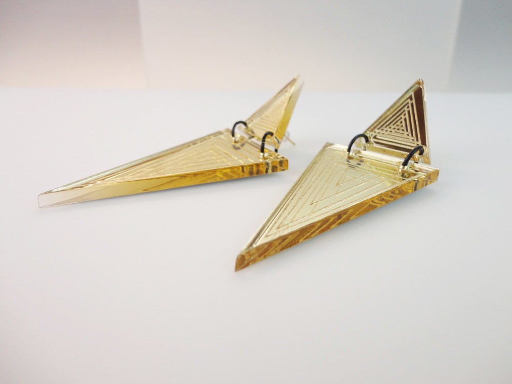Micol   Two Essential Triangles on Gold Mirror Earrings 2