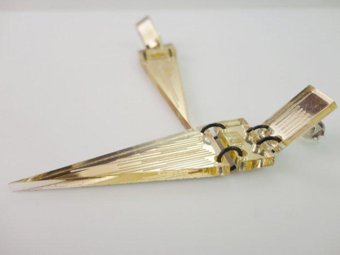 gold mirrored plexiglass earrings