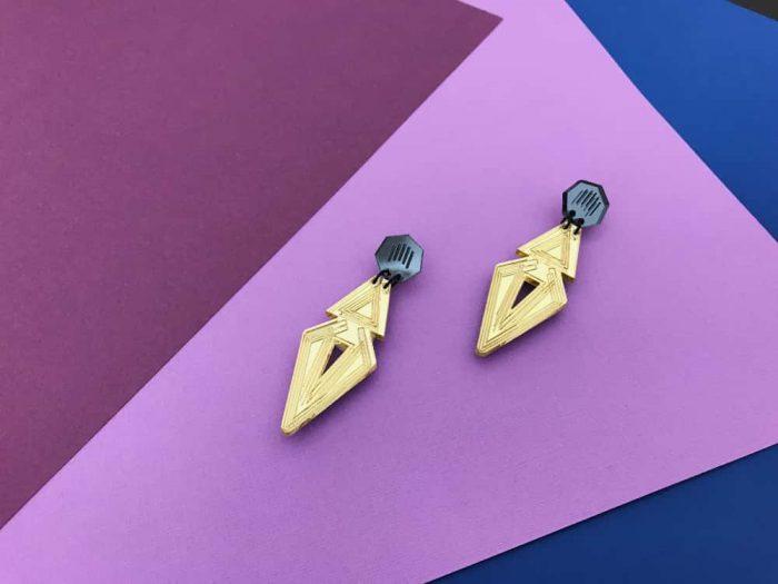 orecchini design gioielli acrilici art deco