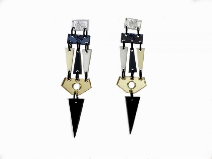 orecchini specchio triangoli bianchi neri colorati