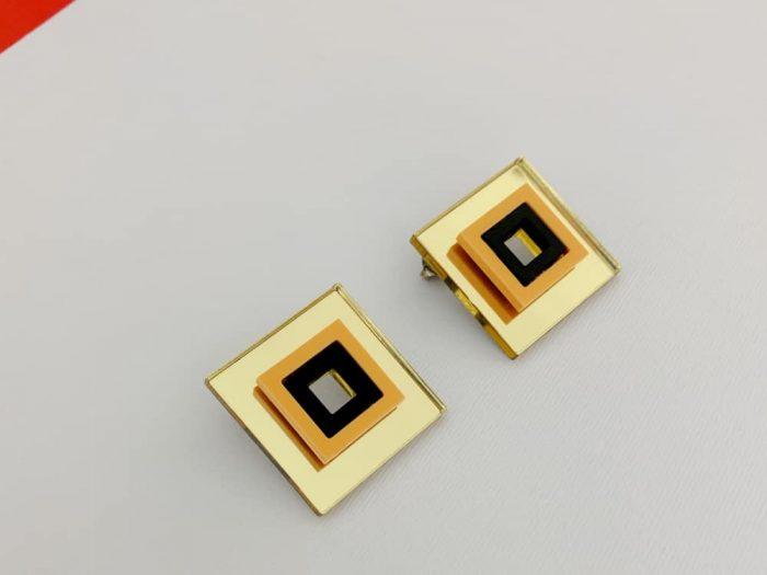 compact orange perspex earrings