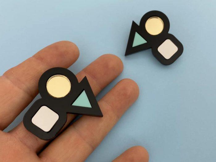 geometric earrings by plexishock
