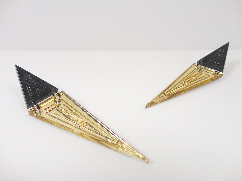 Micol   Two Essential Triangles on Gold Mirror Earrings 4