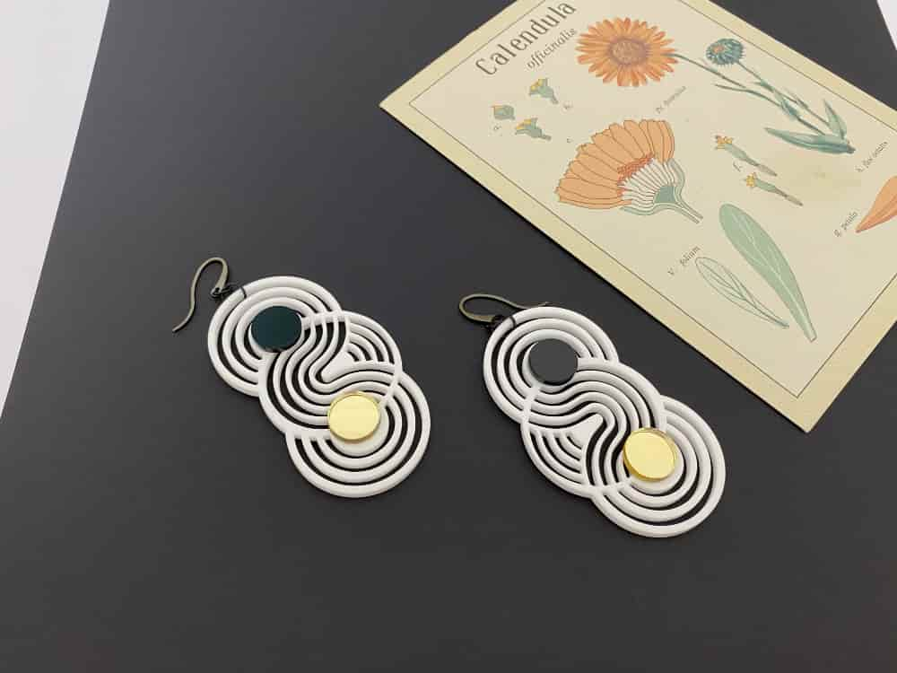 optical art earrings
