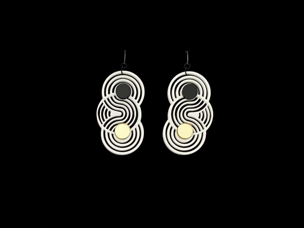 optical art minimalistic earrings