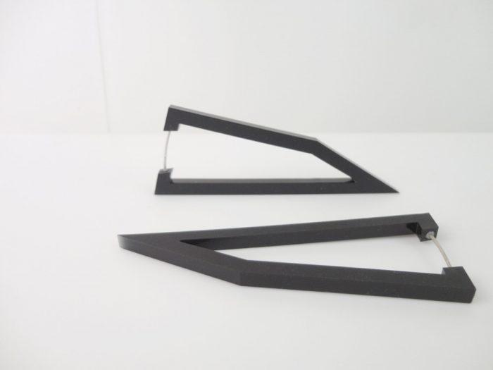 black pentagon earrings by plexi shock