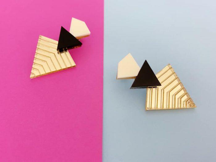 Pyramid Engraved Earrings
