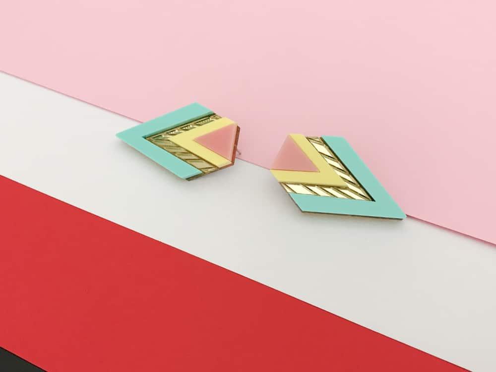 art deco heavenly mirrored earrings