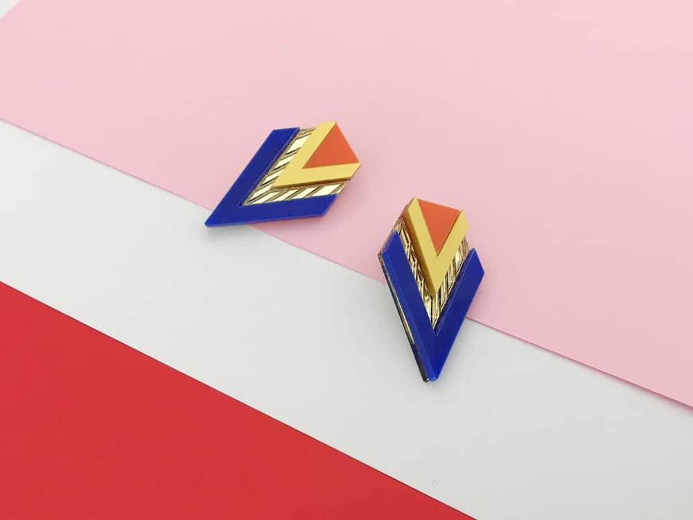 art deco blue earrings