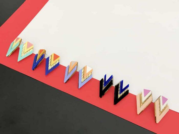 art deco mirrored design earrings by plexi shock