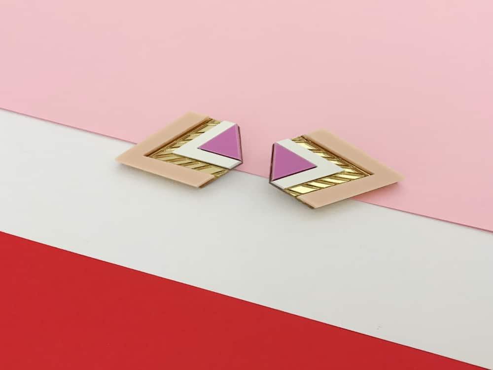 elegant art deco pink earrings