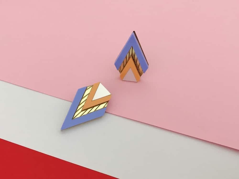 elegant art deco mirrored sky earrings