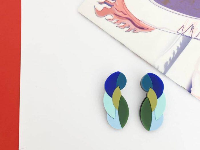 surreal plexiglass design earrings