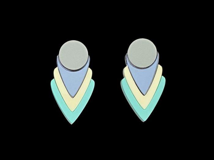 eccentric art deco pastel earrings jewel