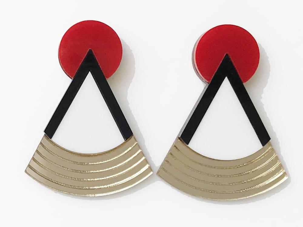 Art Deco Plexiglass Earrings 1