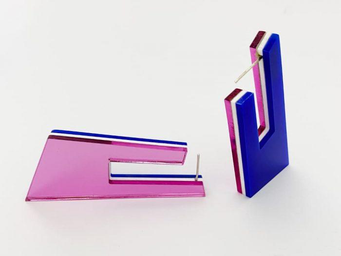 orecchini ottagonali avant-garde plexi shock gioielli design