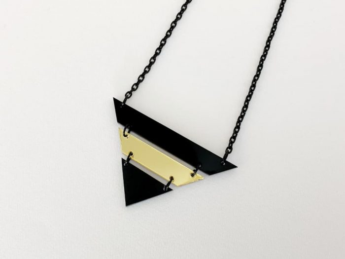 black gold triangle necklace