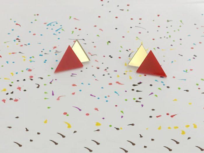 stud red triangle earrings