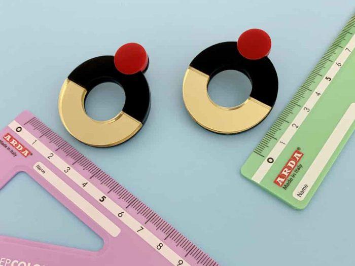 geometric perspex design stud earrings
