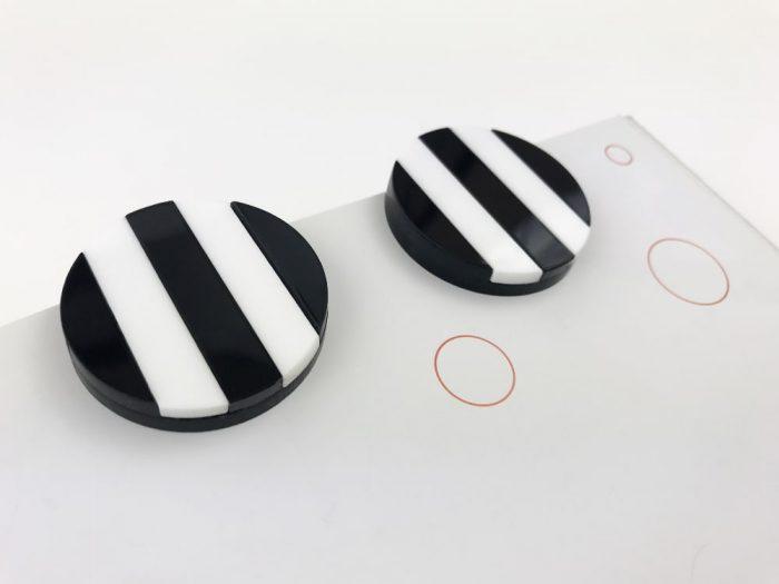 black white acrylic striped earrings